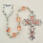 October Birthstone Rosary (Rose) - Rhodium Plated