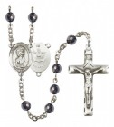 Men's St. Christopher Army Silver Plated Rosary