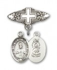 Pin Badge with Scapular Charm and Badge Pin with Cross