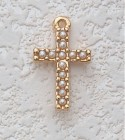 "Child's Pearl Cross Necklace - 16""L [MVC0016]"