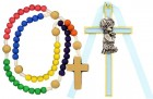 Kneeling Boy Cross with Baby Rosary Set