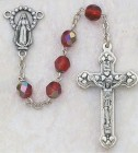 July Birthstone Rosary (Ruby) - Silver Oxidized
