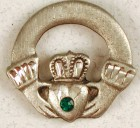 Claddagh with Green Stone Lapel Pin (12 per order)