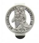 """Round St. Christopher Visor Clip, Pewter - 1 1/2"""" dia"""