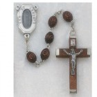 Men's Brown Wood Rosary with Our Lady of Lourdes Water