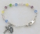 Baby Rosary Bracelet with Multi Color Tin Cut Crystal Beads