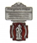 "St. Florian Firefighter Prayer Visor Clip, Red Enamel, Pewter - 2 1/8""H"