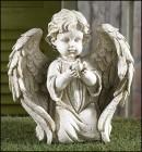 "Angel Holding Dove Garden Statue - 10.25""H"