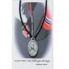 Boys St. Christopher Hockey Medal with Leather Chain and Prayer Card [PC0079]