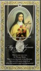 St. Therese  Medal in Pewter with Bi-Fold Prayer Card