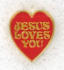 Heart Shaped Jesus Loves You Red Lapel Pin (12 pieces per order)