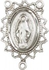 Open-Cut Lace Border Miraculous Medal Rosary Centerpiece