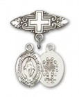 Pin Badge with Miraculous Charm and Badge Pin with Cross
