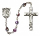St. Anthony of Padua Sterling Silver Heirloom Rosary Squared Crucifix