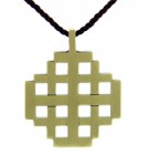 Jerusalem Cross Pendant with Brown Cord
