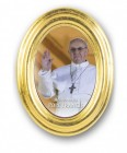 Pope Francis Oval Gold Leaf Frame