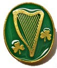 Irish Harp and Shamrock Lapel Pin