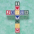 I Love Jesus ABC Block Wall Cross--Primary Colors