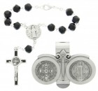 St. Benedict Matching Auto Rosary and Visor Clip Set, Pewter, 7mm beads