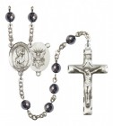 Men's St. Christopher Navy Silver Plated Rosary