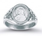 Women's Sacred Heart Scapular Ring Sterling Silver