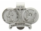 "St. Christopher & Guardian Angel Protect My Grandson Visor Clip, Pewter - 2 1/2""W"
