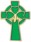 Celtic Clover Cross Lapel Pin - 1""