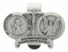 St. Christopher & Guardian Angel Protect My Granddaughter Visor Clip Pewter