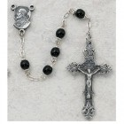 Sacred Heart of Jesus 5mm Black Glass Rosary