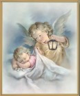 Angel with Lantern Gold Framed Print