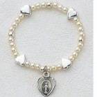Baby Stretch Bracelet with Silver Hearts and Pearls - Sterling Silver