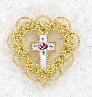 Heart with Cloisonne Cross Lapel Pin (12 per order)