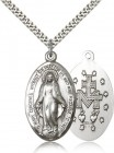Men's High Relief Miraculous Medal Necklace