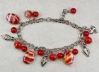 Red and White Glass Charm Bracelet