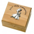First Communion Girl's Maple Wood Keepsake Box