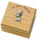 Girl's Baptism Maple Wood Keepsake Box