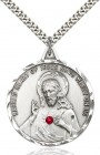 Elegant Sacred Heart of Jesus Pendant with Birthstones