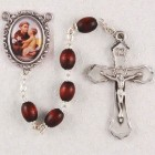 St. Anthony Rosary with Dark Brown Wood Beads
