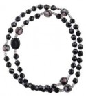 Black Crystal Twisting Rosary Bracelet - 4mm