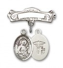 Pin Badge with St. Camillus of Lellis Charm and Arched Polished Engravable Badge Pin