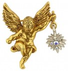 Gold Cherub Angel Brooch with Crystals