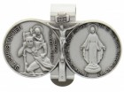 "St. Christopher and Blessed Mary Visor Clip, Pewter - 2 5/8""W"