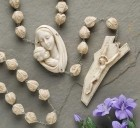 Alabasterite Wall Rosary, 30mm beads - 65 inch