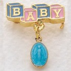 Baby Pin with Miraculous Medal Pendant - Blue