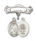 Pin Badge with Miraculous Charm and Arched Polished Engravable Badge Pin