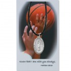 Boy's St. Christopher Basketball Medal with Leather Chain and Prayer Card