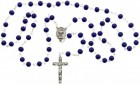 First Communion Blue Glass Rosary with Chalice Centerpiece