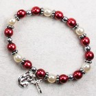 Red and White Faux Pearl Christmas Stretch Bracelet