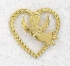 Cutout Heart with Angel Lapel Pin