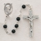Black Glass First Communion Sacred Heart Rosary - Rhodium